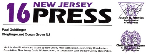 Press credentials issued by New Jersey Press Association, with cooperation of the New Jersey State Police.