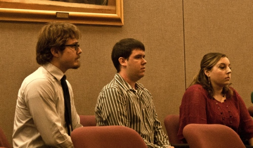 Rock throwers (l to r) James Turetzkin, Philip Williams and Lauren Magaw in the jury box, waiting for their hearing to begin. Photos by Mary Walton