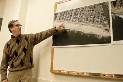 Bailey uses aerial photos to illustrate the performance of a boardwalk bulkhead