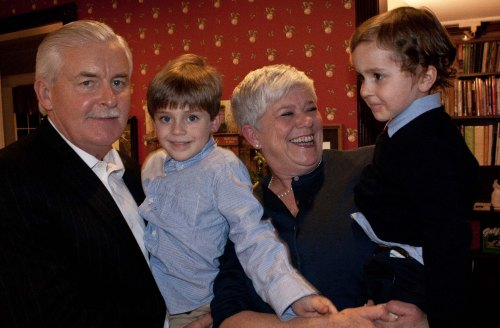 Mayor Eric Houghtaling with grandson Ryker Butcher, 5 1/2; wife Linda and grandson Cade Butcher, 4. Photo by Mary Walton