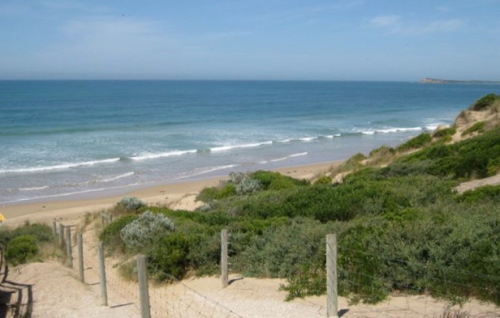 The Jersey Shore it ain't. Photo of the beach at Ocean Grove, Australia, taken by Carol and Dale Whilden