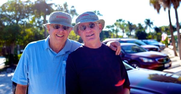 Paul Goldfinger, editor@Blogfinger and Ernie Bergman, official Blooger. Sanibel Island, Florida. Jan. 2013.