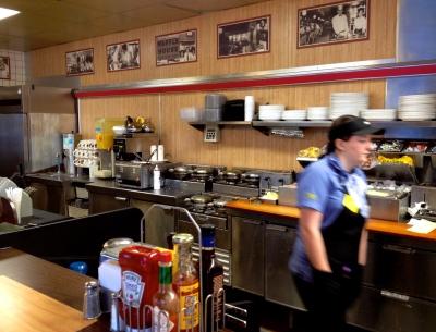Inside a Georgia Waffle House along Route 95.