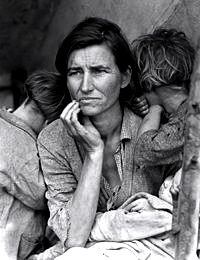 """Migrant Mother"" from the exhibit. by Dorothea Lange, 1936"