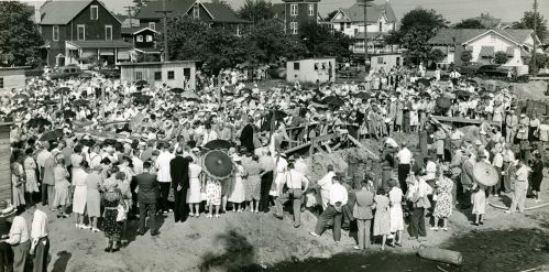 Cornerstone event at the future site of the Francis Asbury Manor.  August 23, 1947 in Ocean Grove, New Jersey. Photo source:  Janet Carrato of the UMHNJ.