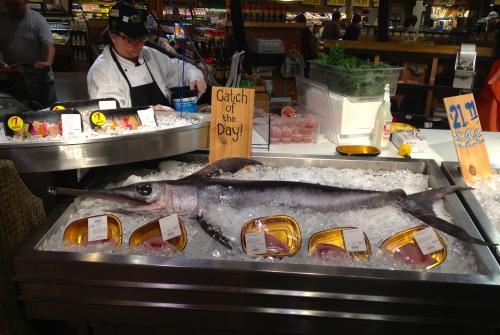 Swordfish. Wegmans fish department, Ocean Store. May 18, 2013. Paul Goldfinger photo. Left click for full view
