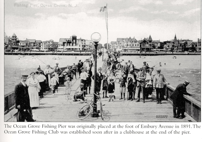 """1891 The South End fishing pier. Source: """"Ocean Grove in Vintage Postcards"""" by Bell and Flynn"""