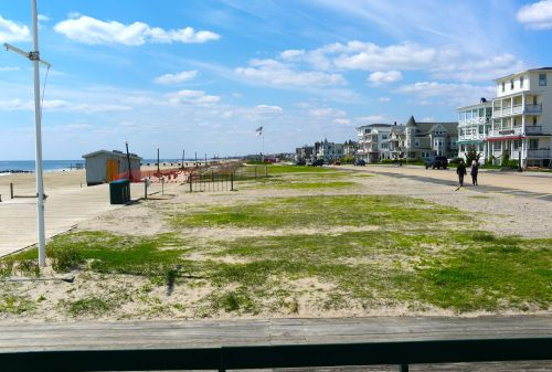 Looking south from the Pavilion. The boardwalk ends there and middle beach begins. There are several pleasant ways to continue your stroll
