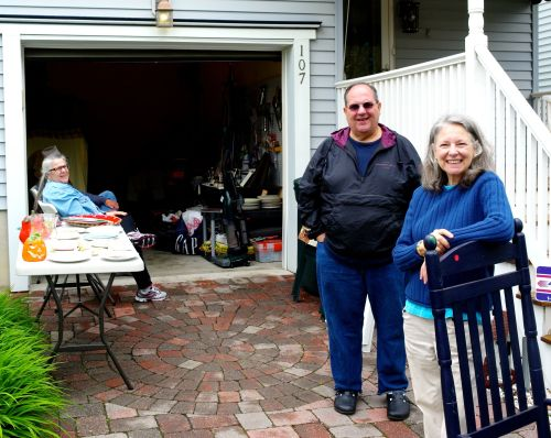 Rosemarie Smith and Michael Termni of Stockton Ave. This is what a real garage sale looks like (A rare event int garageless OG)