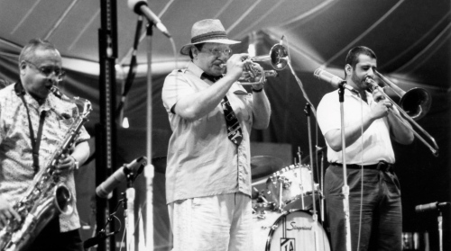Warren Vache on jazz trumpet at Waterloo Village c. 1995. By Paul Goldfinger ©