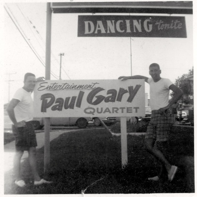 Lavalette, New Jersey c.1962. Charlie Francisconi on left (bass player) and Paul Goldfinger (ie Gary) on right. the Red Rail Restaurant.
