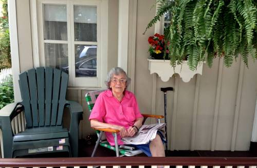 Mildred Hardeman on the porch of her Ocean Grove home.  Paul Goldfinger photo July 2013