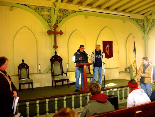 Nov. 3, 2013. Ralph del Campo (left) and Bill Bailey organize disaster volunteers in the Tabernacle. Paul Goldfinger photo ©