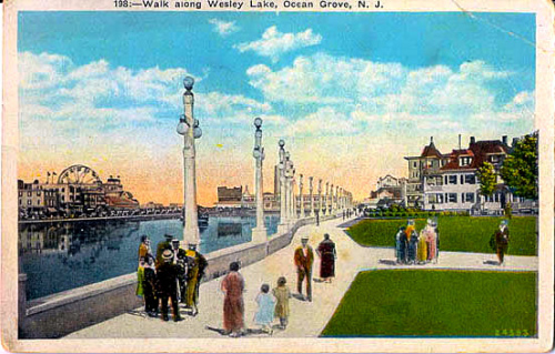 OG side of Wesley Lake, around 1900. The postcard is from Eileen's collection.