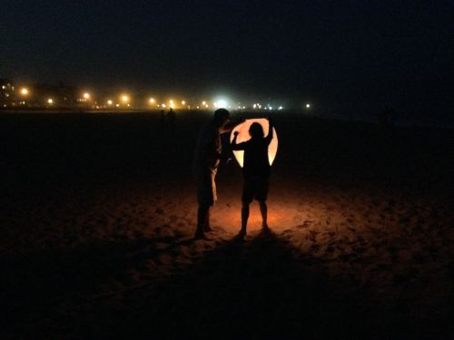 Night lite on the beach. By Paul Goldfinger © Click left