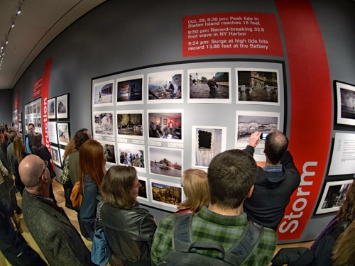"Opening of ""Rising Waters: Photographs of Sandy. Bob used a fisheye lens for this shot."