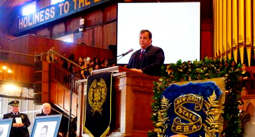 The Governor spoke at the Police Memorial Service 5/21/13. But he did not visit our damaged boardwalk.