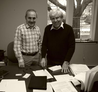 J.P. Gradone (L) COO and Dale Whilden, President at work at the OGCMA offices. DEc, 2013.  Paul Goldfinger photo.