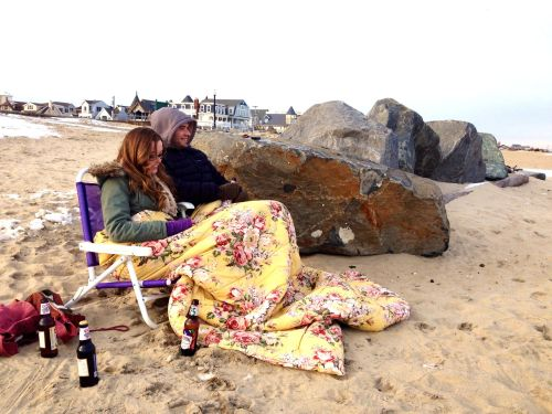 "Chelsea and Mike from Nanuet, NY. Said ,""we are true beach bums."" They come to the shore to relax all year round. FEb 8, 2014"