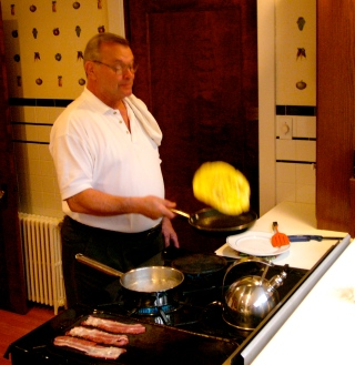 John in their gorgeous kitchen. He has some specialties, including breakfast and leg of lamb for dinner. Paul Goldfinger photo ©