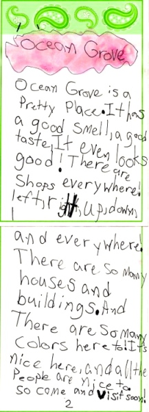 Madeleine's letter to Ocean Grove