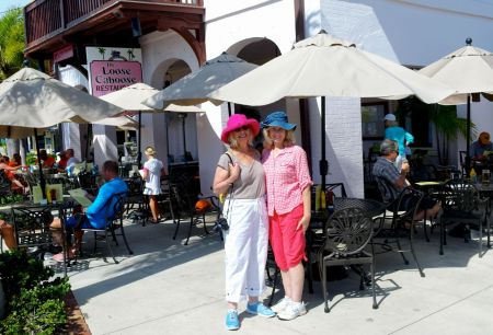 Eileen (l) and Hope hanging out at the Loose Caboose. Pink is an important color there---says Lilly Pulitzer. ©