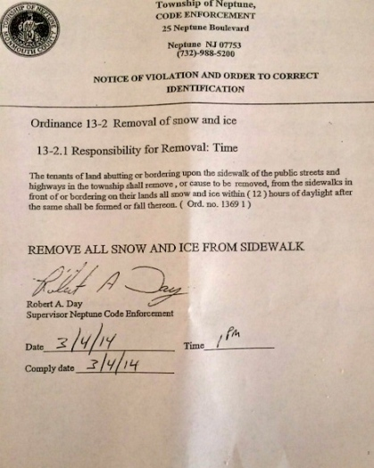 An Ocean Grove resident was handed this today by Code Enforcement. March 4, 2014.