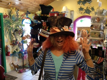 Mama Eileen on the way to a tea party.   Captiva Island, Fla at the Mad Hatter gift shop.