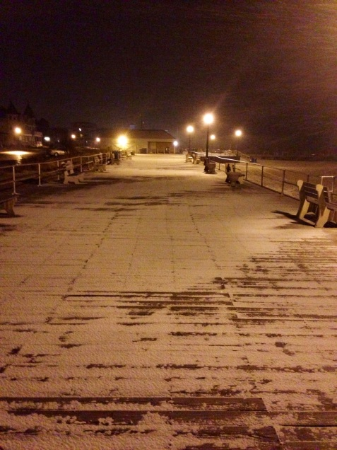 Ocean Grove boardwalk.  Tuesday evening, March 25, 2014.  By Moe Demby, Blogfinger staff.  ©