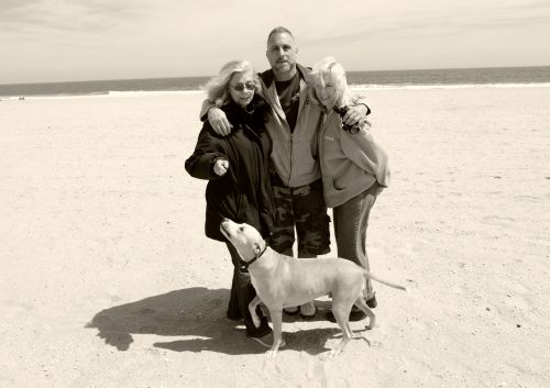 Eileen (L), Mike, Hope and Chico.    Ocean Grove, April 2014.