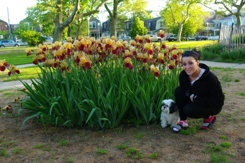 Heather and Riley among the irises at Founders' Park. May 25, 2014.  ©