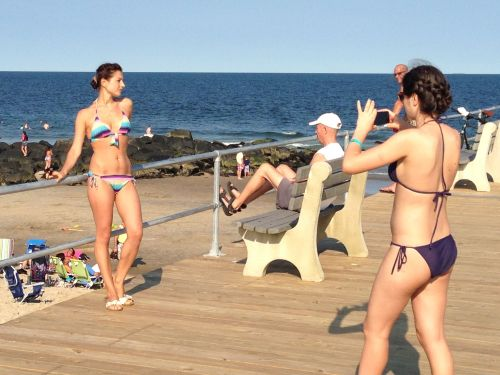 If the pier is rebuilt, these swimsuit models promise to bring their friends to the new OG beachfront. Paul Goldfinger photo ©