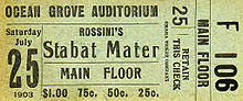 Ticket to Rossini's Stabat Mater 1903.