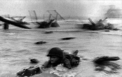 Robert Capa, Life Magazine photographer went into Omaha Beach with the American troops.