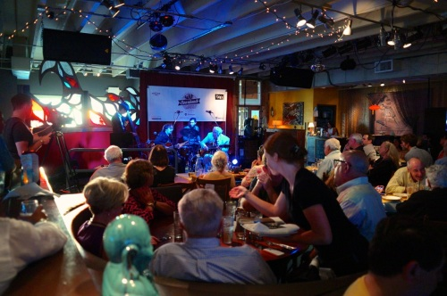Busy night; happy crowd at the Langosta Lounge for Jazz night. ©