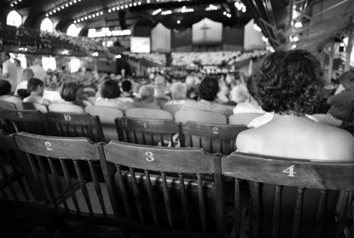 Keeping cool in the Great Auditorium. by Paul Goldfinger back in the cheap seats. ©