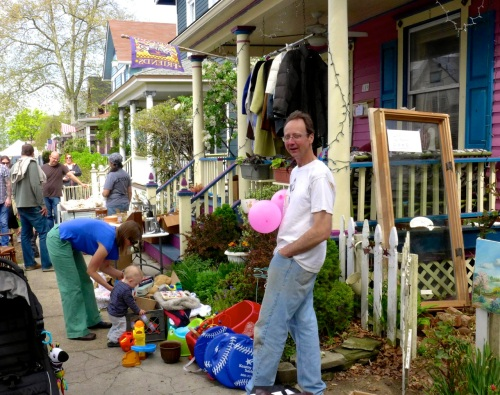 Cousin Brucie Holmes on Mt. Hermon Way during the Townwide Yard Sale, May, 2014.   Paul Goldfinger photo ©