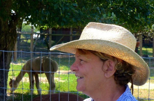 Dee Sherman, chief alpaca farmer at Arrow Acres.  Paul Goldfinger photo. ©