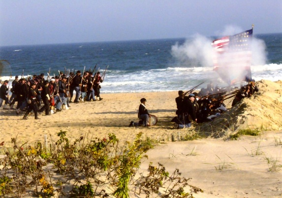 The assault on Battery Wagner near Charlston.  Ocean Grove beach. c.1990's.   Paul Goldfinger photo  ©