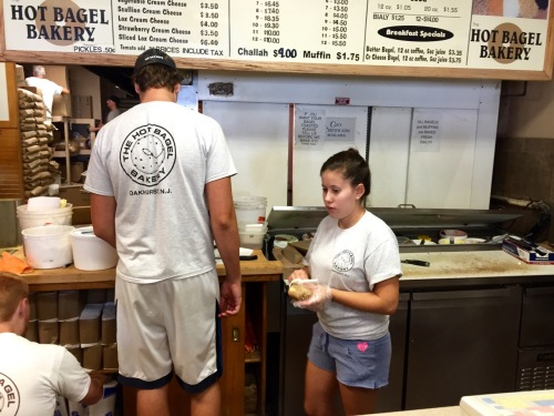 The long and the short of bagel making---taken at the Hot Bagel Shop in Oakhurst, September 1, 2015. Paul Goldfinger photo