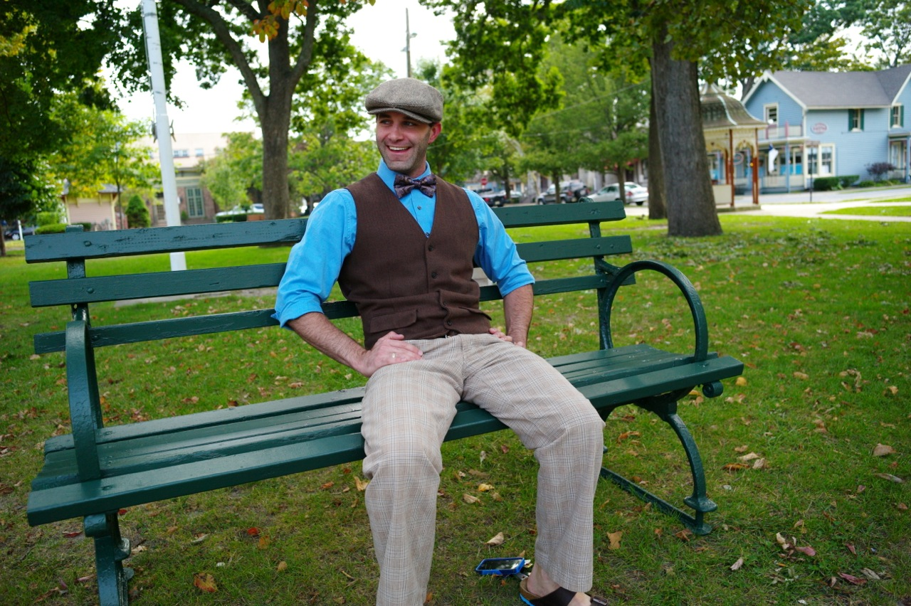 """Justin Simini in Auditorium Square Park. He likes to dress """"snazzy."""" Paul Goldfinger photo"""