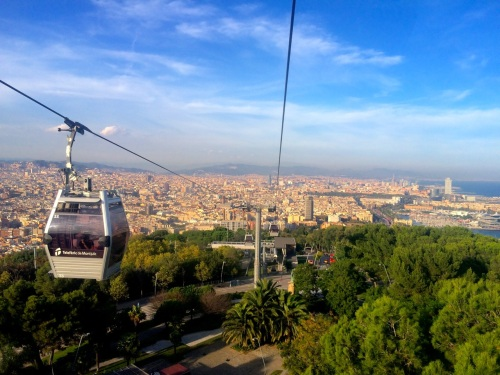 Barcelona as seen from the Montjuic chairlift.
