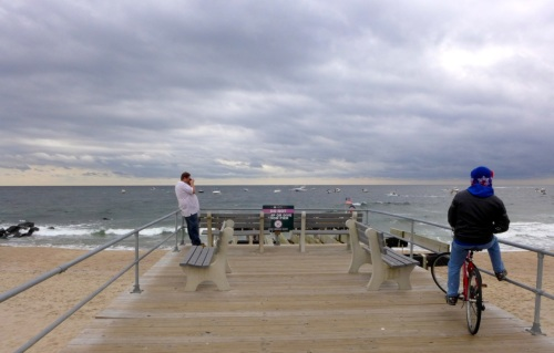 Chris, from Asbury Park takes pictures from the OG non-fishing pier.  ©