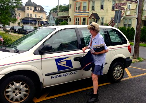 O.G. letter carriers are now based in Neptune.  Pictured here is a drive-by delivery.   Blogfinger file photo ©