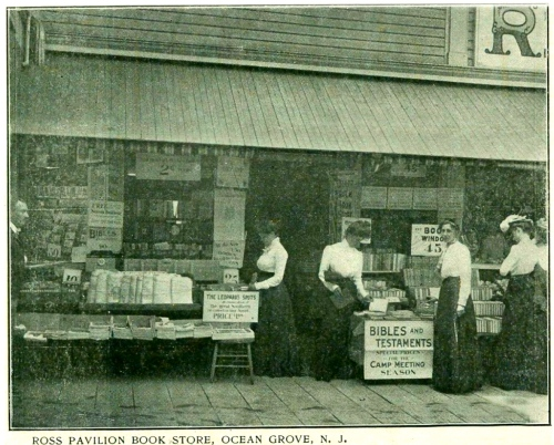 Bookstore at the Ross Pavilion, North End, Boardwalk. Ocean Grove, New Jersey 1907. Submitted by Rich Amole, Blogfinger historian and reporter.