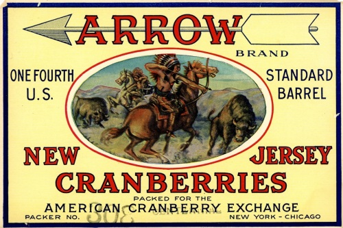 Old carton label for Arrow New Jersey cranberries.