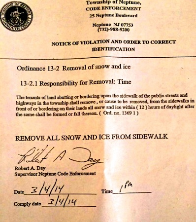 This notice was left for and OG homeowner last March.  Blogfinger file photo.  ©