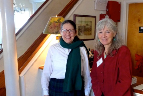 Katheryn Hess (L) and Sue Anderson Gioulis, authors, in Ocean Grove,  at the Shawmont Hotel. Dec 13, 2014. Paul Goldfinger photo ©