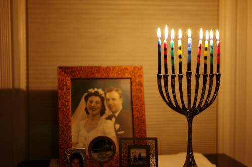 Ocean Grove menorah. The eighth night of Hanukkah.  December 23, 2014. By Paul and Eileen Goldfinger. ©