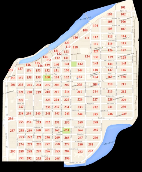Ocean Grove block number map by Carol Livingstone of Ocean Grove.